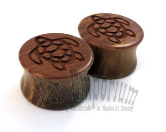 """Sea Turtle Lignum Vitae Wooden Plugs 2g (6.5mm) 0g (8mm) 00g (9mm) (10 mm) 7/16"""" (11mm) 1/2"""" (13mm) 9/16"""" 5/8"""" 11/16"""" 3/4"""" 7/8"""" Ear Gauges"""