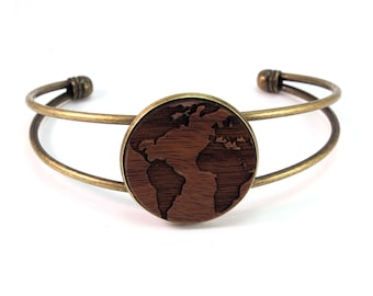 Cuff Bracelet with Sustainably-Harvested Wooden Walnut Globe Disc - 2 Finishes