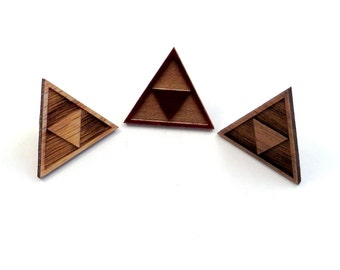 Tri Force Hat Pins - Sustainably Harvested Oak, Walnut or Red Stained Maple - Triforce backpack button - Zelda Fan