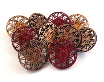35 Pack of Flower of Life Wooden Hat Pins - READY TO SHIP - Sustainably Harvested Oak, Walnut or Red Stained Maple Wood - Bulk for vendors