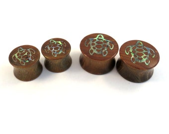 """Sea Turtle Abalone Inlay Lignum Vitae Wooden Plugs - 00g (10mm) 7/16"""" (11mm) 1/2"""" (13mm) 9/16"""" (14mm) 5/8"""" (16mm) 3/4"""" 7/8"""" Ear Gauges"""