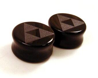 "3/4"" (19mm) 7/8"" (22mm) 1"" (25mm) Tri Force Black Glass Plugs Opaque Ear Gauges Triforce"