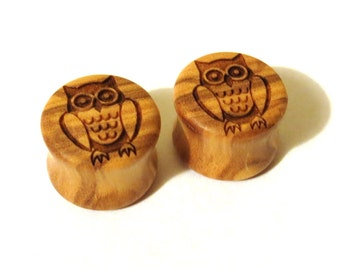 """Owl Olivewood Wooden Plugs - PAIR - 2g (6.5mm) 0g (8mm) 00g (9mm) (10mm) 7/16"""" (11mm) 1/2"""" 13mm 9/16"""" 14mm 16mm 19mm and up Wood Ear Gauges"""
