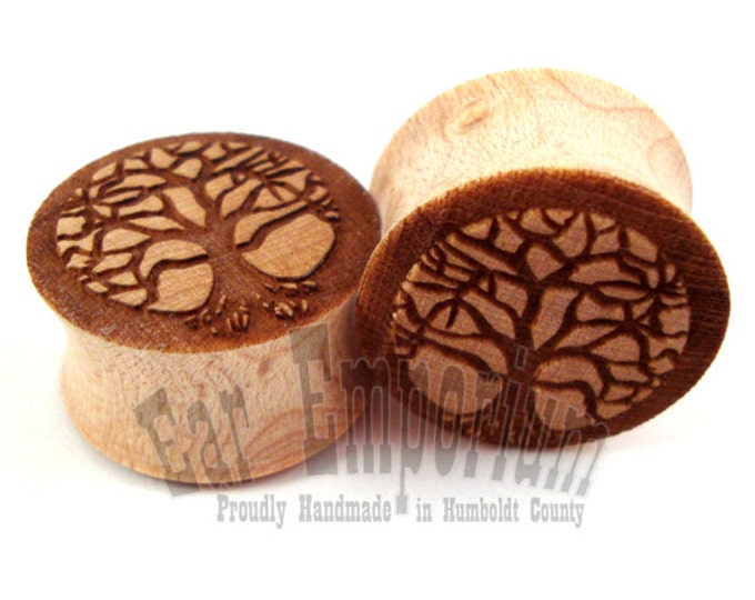 """Featured listing image: Tree of Life Maple Wooden Plugs 2g (6mm) 0g (8mm) 00g (9mm) (10mm) 7/16"""" (11mm) 1/2"""" (13mm) 9/16"""" (14mm) 5/8"""" (16mm) 3/4"""" (19mm) Wood Gauges"""