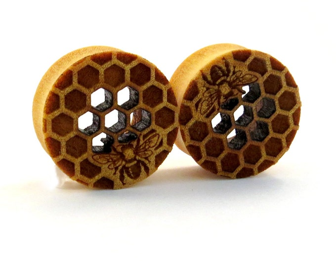 """Featured listing image: Cutout Honeycomb with Bee Yellowheart Wooden Plugs 5/8"""" (16mm) 7/8"""" (22mm) 1"""" (25.5mm) 1 1/8"""" (28mm) 1 1/4"""" (32mm) (38mm) (44mm) Ear Gauges"""