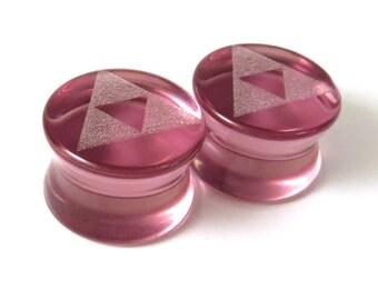 "Triforce Purple Glass Plugs 2g (6mm) 0g (8mm) 00g (9mm) (10mm) 7/16"" (11mm) 1/2""(13mm) 9/16""(14mm) Pink Tri Force Ear Gauges"