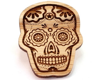 Sugar Skull Hat Pins - Sustainably Harvested Oak, Walnut, Red Stained Maple or Black Stained Maple