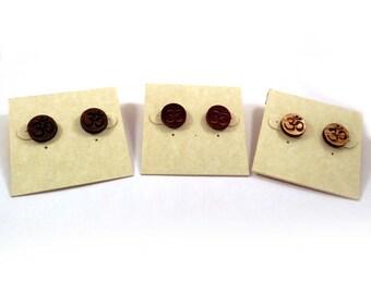 Om Symbol Sustainable Wooden Post Earrings - Walnut Wood Studs