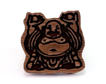 Buddha Wood Pin - Available in Walnut, Oak, Red Stained Maple, or Black Stained Maple - Wooden Hat Pin