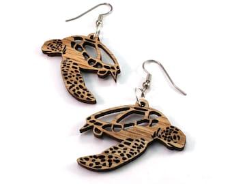 Sea Turtle Wooden Hook Earrings - Sustainably Harvested Oak, Walnut, or Red or Black Stained Maple Wood Dangle Drop Earrings