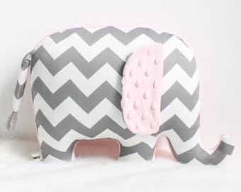 Organic elephant pillow, gray chevron nursery decor, gray and pink, baby shower gift, modern nursery decor, elephant nursery, pink grey