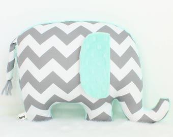 Mint nursery decor, organic elephant pillow, gray chevron nursery decor, baby shower gift, modern nursery decor, elephant nursery