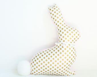 Bunny rabbit pillow, rabbit pillow, modern nursery decor, bunny plush, rabbit nursery, baby shower gift, Easter decor, metallic gold pink