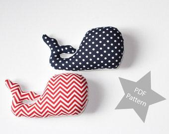 Mini Whale Pillow Sewing Pattern PDF, Whale Plushie pattern PDF, Instant Download