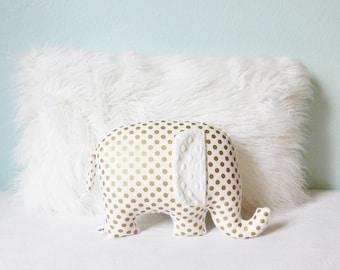 Metallic gold nursery decor, Elephant Pillow, metallic gold and white, gold and white, gender neutral baby