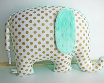 Mint nursery decor, Elephant Pillow, metallic gold and seafoam, gold and mint, mint nursery decor, baby shower gift, nursery pillow