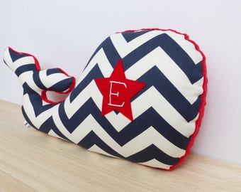 Personalized Whale Pillow, Modern Nautical Nursery Decor, navy chevron, navy and red