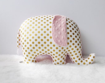 Boho nursery decor, Elephant Pillow, girl nursery, metallic gold and light pink, gold and pink, made to order