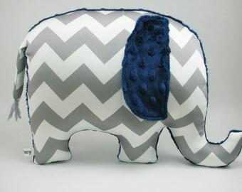 Boy nursery decor elephant, elephant decor, elephant pillow, elephant nursery, navy gray nursery, safari nursery, baby shower gift, boy gift