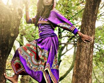 LIFE harem pants (short) SIZE S/M - purple dashiki Ready to ship!!