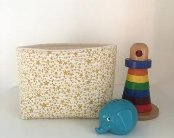 Fabric Basket, Nursery Storage, Gold Stars, Nappy Caddy, Diaper Storage, Fabric Bin