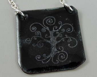 Tree of Life Enameled Copper Necklace, Copper Necklace, Metalwork Jewelry, Tree Jewelry, Tree Necklace, Nature Jewelry, Tree of Life