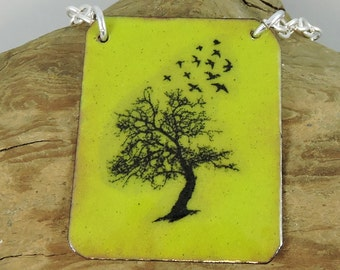 Tree & Birds Enameled Copper Necklace, Copper Necklace, Metalwork Jewelry, Tree Jewelry, Bird Necklace, Nature Jewelry