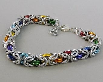 Rainbow Chainmail Bracelet, Chainmaille Bracelet, Byzantine Weave Chain Mail Jewelry, Gay Pride Bracelet, LGBT Jewelry