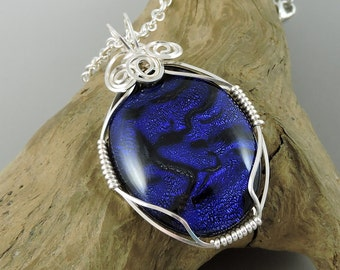 Blue Dichroic Glass Necklace, Wire Wrapped Necklace, Dichroic Glass Jewelry, Blue Necklace
