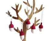 Christmas Decor felt white Acorns with glitter red caps. Woodland ornament.