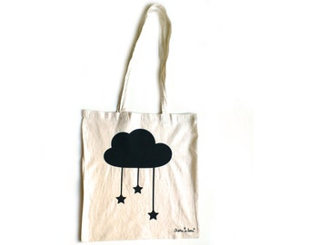Natural tote bag with black cloud and stars