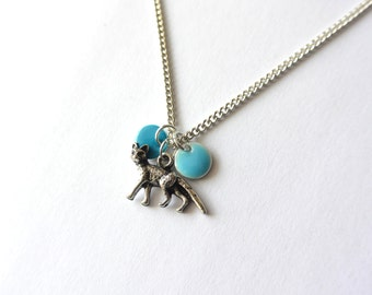 Silver chain with little fox and blue enamel rounds. Woodland jewelry