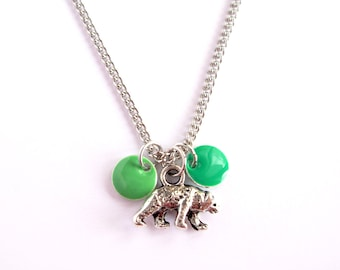Silver chain with little bear and green enamel pendant. Woodland jewelry