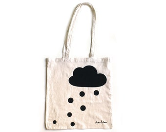 Winter Tote bag with black cloud and snow