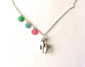 Necklace with little fawn and green/pink enamel pendant. Woodland jewelry