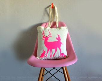 Tote bag Woodland animals with neon pink color. Natural cotton. Deer, rabbit, squirrel....