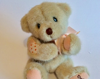 60a06c6c62c Vintage small cherished teddy bear peach bow patches 90s Gift