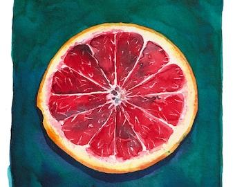 Small Watercolor Painting - Grapefruit