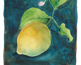 Small Watercolor Painting - Lemon