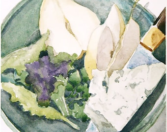 Printable - Small Watercolor Painting - Salad with Roquefort Cheese (Digital Version)