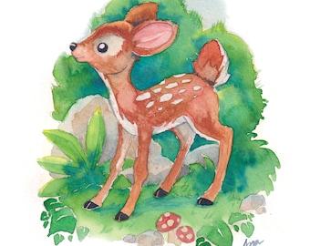 "Printable - Small Watercolor Illustration -  ""Baby Deer"" (Digital Version)"