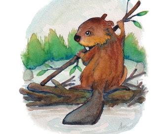 "Printable - Small Watercolor Illustration -  ""Beaver"" (Digital Version)"