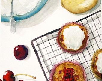 Printable - Small Watercolor Painting - Cherry Cupcakes (Digital Version)