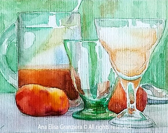 Small Watercolor Painting - Glasses and Peaches on Green Background