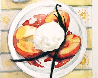 Small Watercolor painting - Peaches and Ice Cream