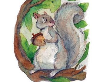 "Printable - Small Watercolor Illustration -  ""Squirrel"" (Digital Version)"