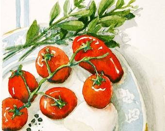 Printable - Small Watercolor Painting - Caprese Salad (Digital Version)