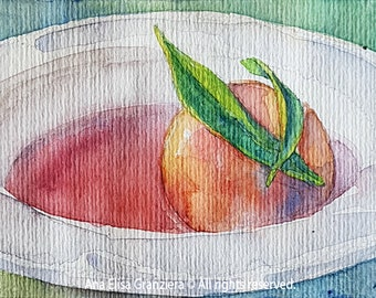 Small Watercolor Painting - Poached Peach in Syrup in White Plate