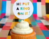 20 WHITE He Put A Ring On It diamond jewel engagement cupcake topper food pick for bachelorette bridal shower engagement party decorations