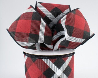 Plaid Bow - Red White & Black - Custom Made with this Ribbon
